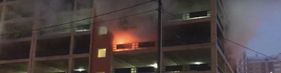 Пожар на многоуровневом паркинге в Немчиновке 28.03.2017